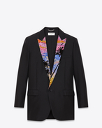 Iconic LE SMOKING Oversized Single-Breasted 1-Button Sequins Lapel Jacket in Black Wool and Mohair