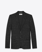 Classic Single-Breasted 2-Button Jacket in Black and Shell Wool and Linen Piqué