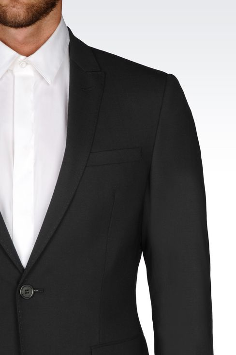 SLIM FIT SUIT IN STRETCH WOOL: One button suits Men by Armani - 5