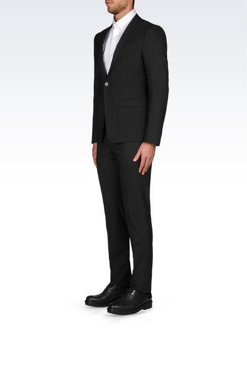 SLIM FIT SUIT IN STRETCH WOOL: One button suits Men by Armani - 3