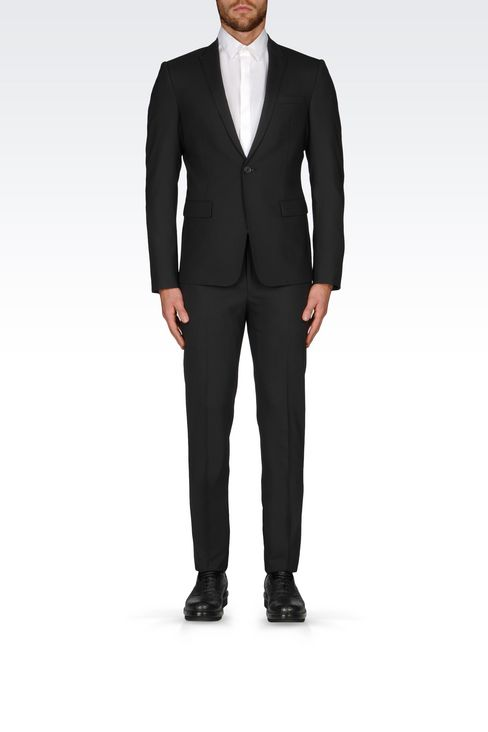 SLIM FIT SUIT IN STRETCH WOOL: One button suits Men by Armani - 2