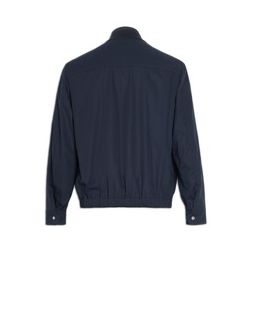 Blouson jacket with knit collar