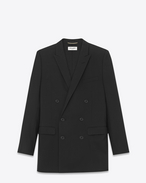 Oversized Double Breasted Jacket in Black Virgin Wool Gabardine