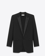 Oversized Iconic LE SMOKING Single Breasted Jacket in Black Virgin Wool Gabardine