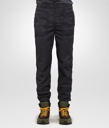 TROUSERS IN NERO POPLIN COTTON