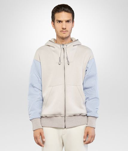 SWEATSHIRT IN DRIFT COTTON JERSEY AND GLACIER POLYESTER WITH EMBROIDERY DETAIL AND SHEARLING LINING