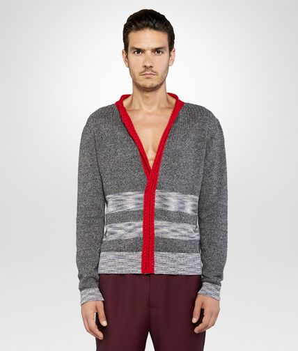 JUMPER IN GREY PACIFIC SILK LINEN WITH VESUVIO CROCHET DETAIL