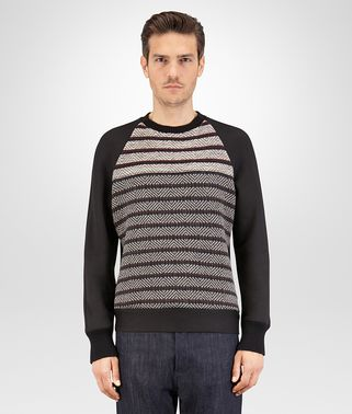 SWEATSHIRT IN NERO VISCOSE JERSEY AND BAROLO MELANGE WOOL