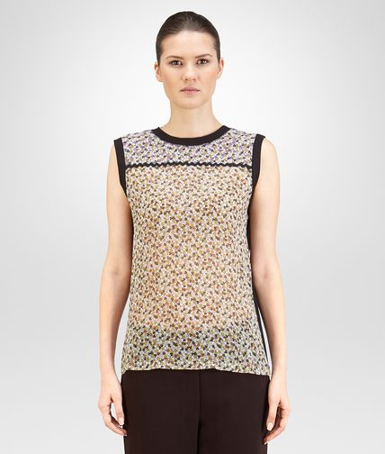 TOP IN CREPE GEORGETTE STAMPATA E JERSEY DI COTONE MULTICOLOR