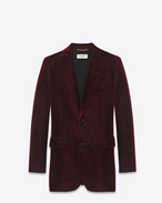ANGIE Single Breasted Jacket in Bordeaux Viscose and Cupro Velour
