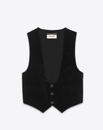 Vest in Black Cotton Velour