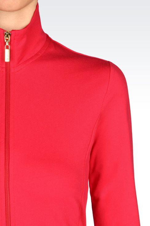 STRETCH COTTON SWEATSHIRT: Zip sweatshirts Women by Armani - 4