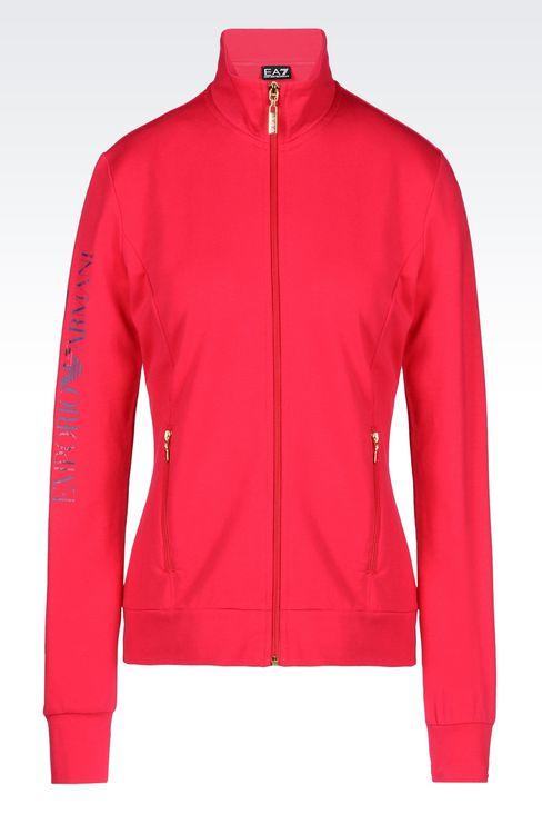 STRETCH COTTON SWEATSHIRT: Zip sweatshirts Women by Armani - 1