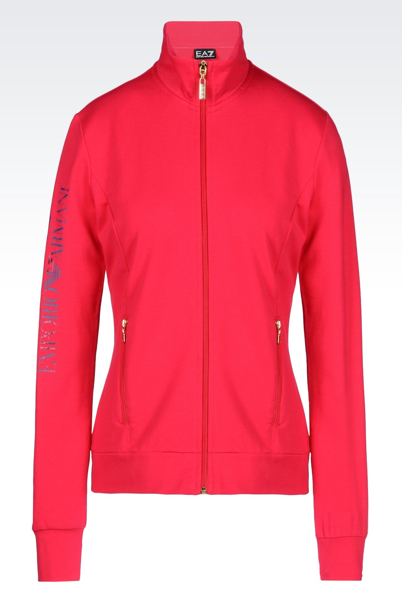 STRETCH COTTON SWEATSHIRT: Zip sweatshirts Women by Armani - 0