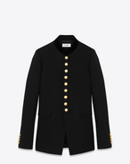 Long Officer Jacket in Black Wool Crêpe