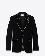 Classic Single Breasted Rope Trimmed Jacket in Black Cupro and Viscose Velour