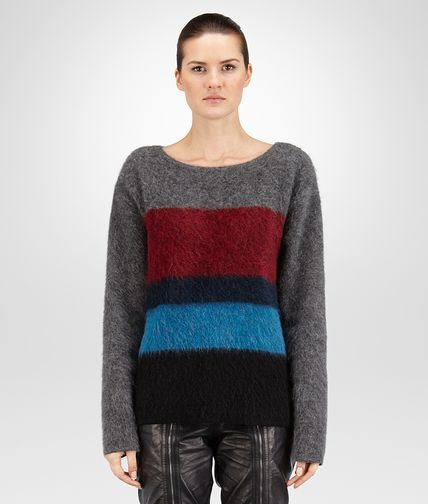 SWEATER IN GREY MULTICOLOR WOOL MOHAIR