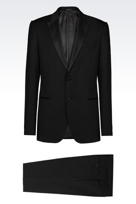 Armani Two buttons suits Men slim fit tuxedo in virgin wool