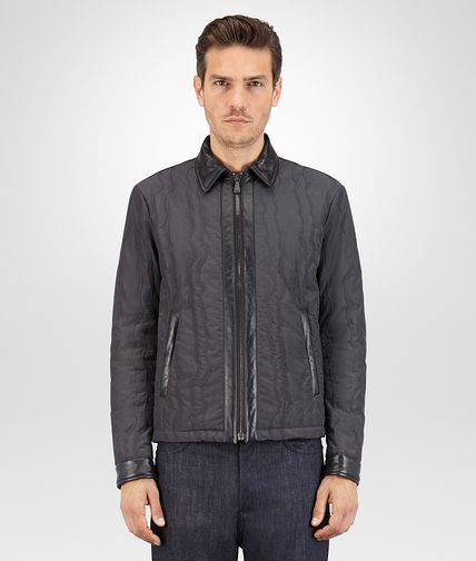 BLOUSON IN DARK ARDOISE NYLON AND NERO LEATHER WITH STITCHING EMBROIDERY DETAIL