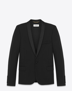 iconic le smoking jacket single breasted in black grain de poudre virgin wool