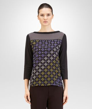 TOP IN MULTICOLOR PRINTED CRÊPE DE CHINE AND COTTON JERSEY