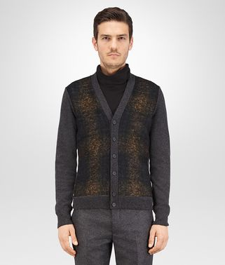 CARDIGAN IN DARK GREY CASHMERE AND MULTICOLOR BRUSHED WOOL