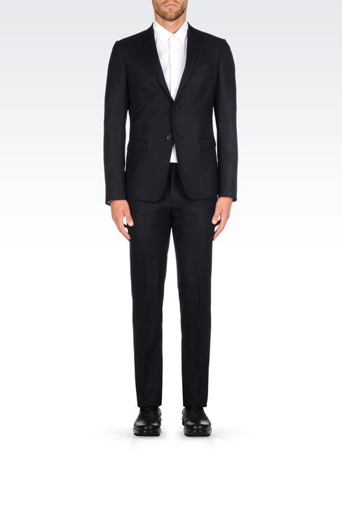 SLIM FIT SUIT IN VIRGIN WOOL: Two buttons suits Men by Armani - 2
