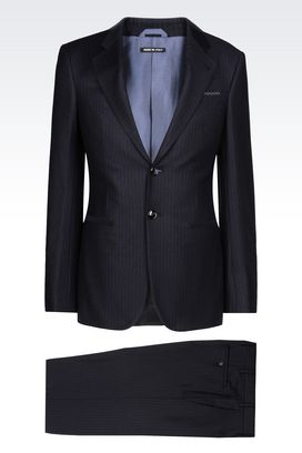 Armani Suits Men trader line suit in blue pinstripe wool
