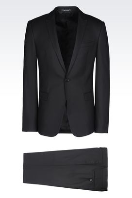Armani One button suits Men slim fit suit in virgin wool