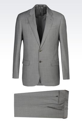 Armani Suits Men soft glen check wool suit