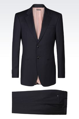 Armani Suits Men trader blu wool and silk suit