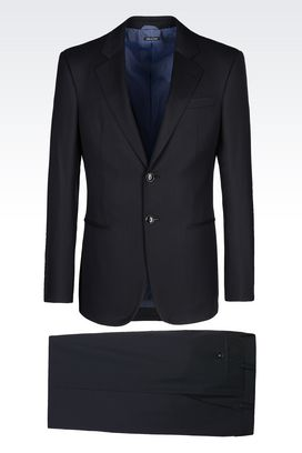 Armani Suits Men trader line suit in blue pinstripe twill