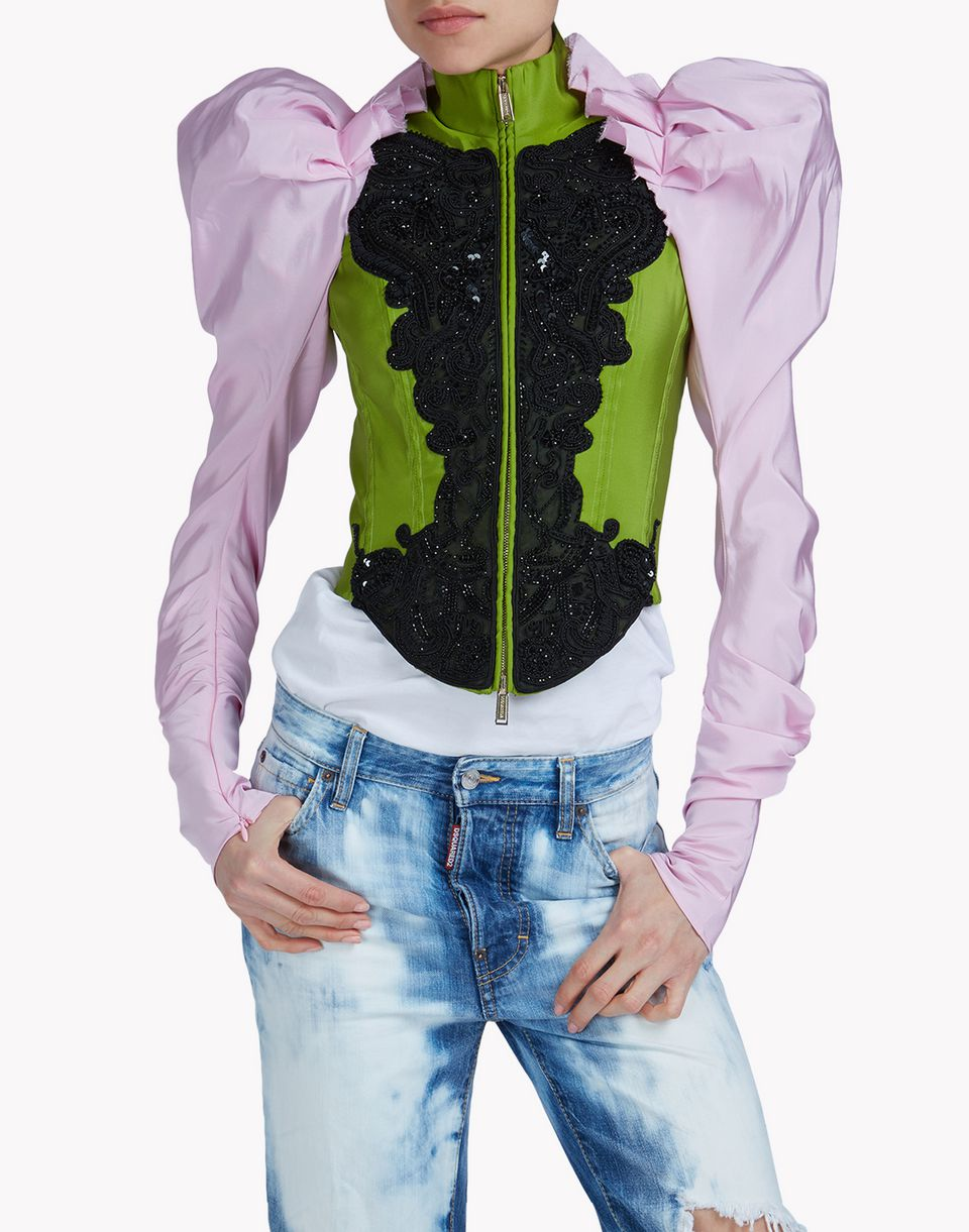 tresor embroidered bustier jacket coats & jackets Woman Dsquared2