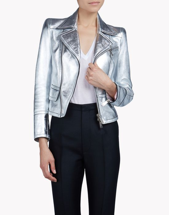 metallic leather jacket coats & jackets Woman Dsquared2