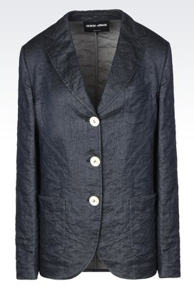 Armani Blazers Women single-breasted cotton and silk blend jacket