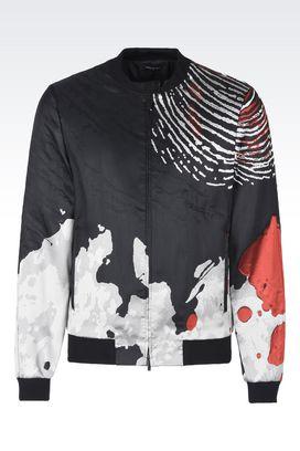 Armani Blouson jackets Men jacquard print runway bomber jacket
