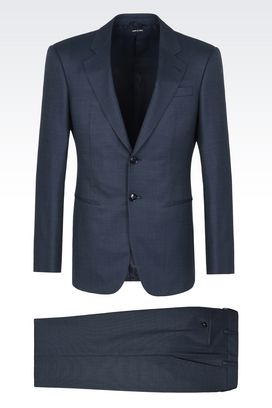 Armani Suits Men trader blu pure wool suit