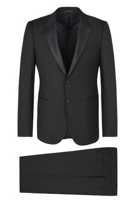 Armani Tuxedos Men two-button wool suit with satin insets