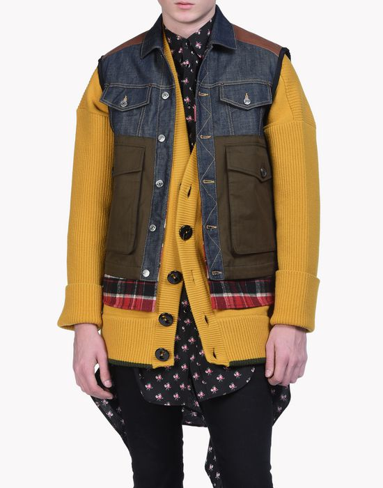 mixed fabric puffer vest coats & jackets Man Dsquared2