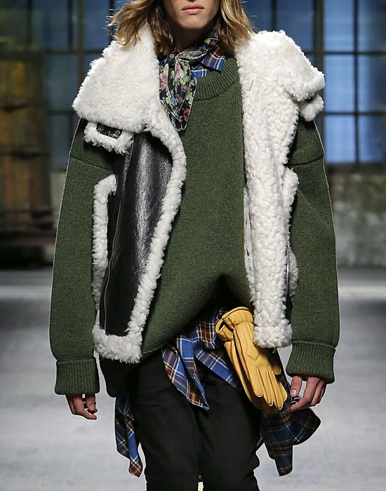 shearling-trimmed leather vest coats & jackets Man Dsquared2
