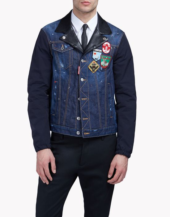 contrasted denim patch jacket manteaux & vestes Homme Dsquared2
