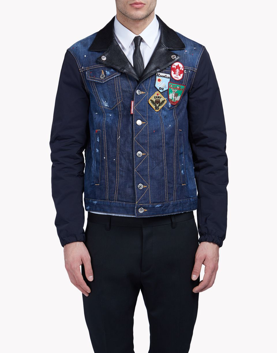 contrasted denim patch jacket coats & jackets Man Dsquared2