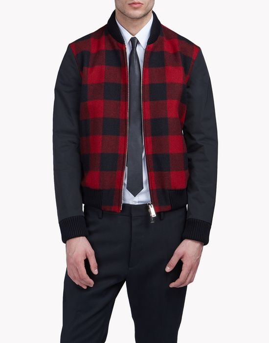 buffalo check bomber jacket coats & jackets Man Dsquared2