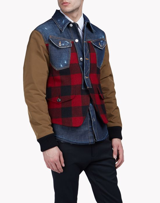 denim buffalo check blazer coats & jackets Man Dsquared2