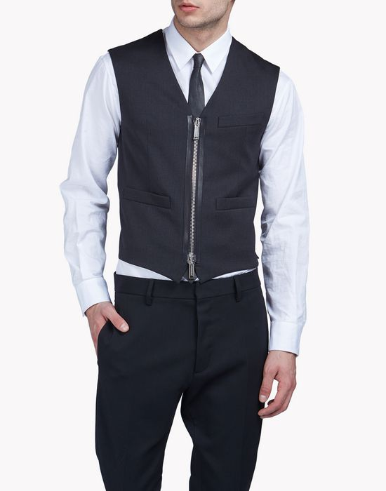 wool zipped vest coats & jackets Man Dsquared2