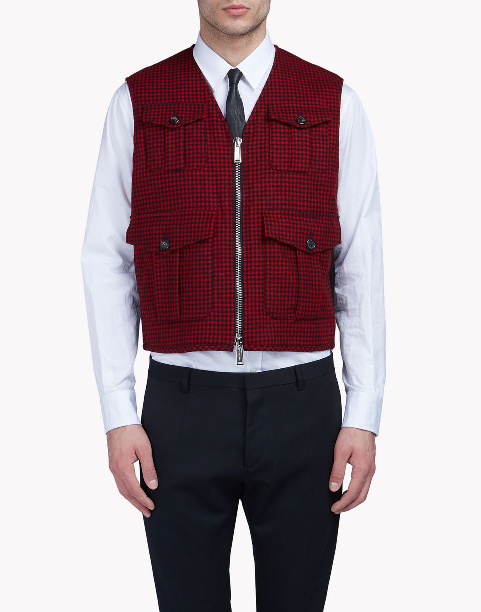 micro-check military vest coats & jackets Man Dsquared2