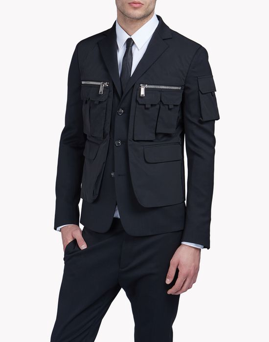 wool multi-pocket layered blazer coats & jackets Man Dsquared2