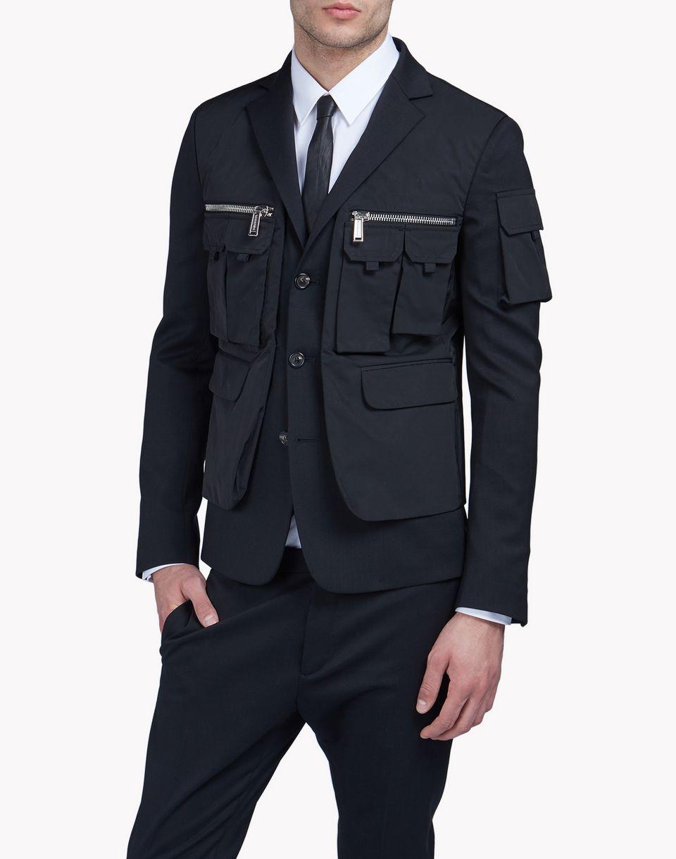 wool multi-pocket layered blazer mäntel & jacken Herren Dsquared2