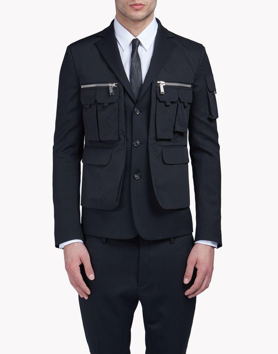 wool multi-pocket layered blazer coats & jackets Man Dsquared2