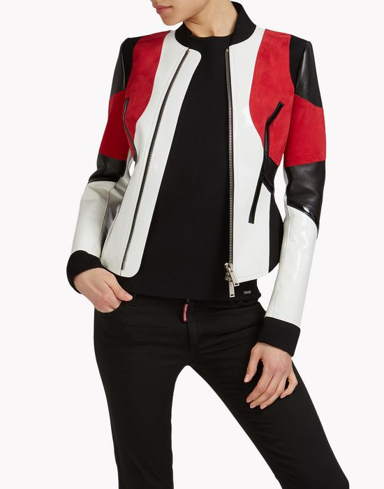 leather neoprene jacket mäntel & jacken Damen Dsquared2